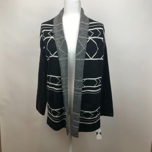 Central Park West Black and White Open Cardigan
